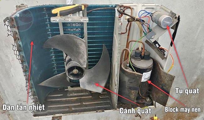 Quạt cục nóng không hoạt động khiến máy lạnh không giải nhiệt được