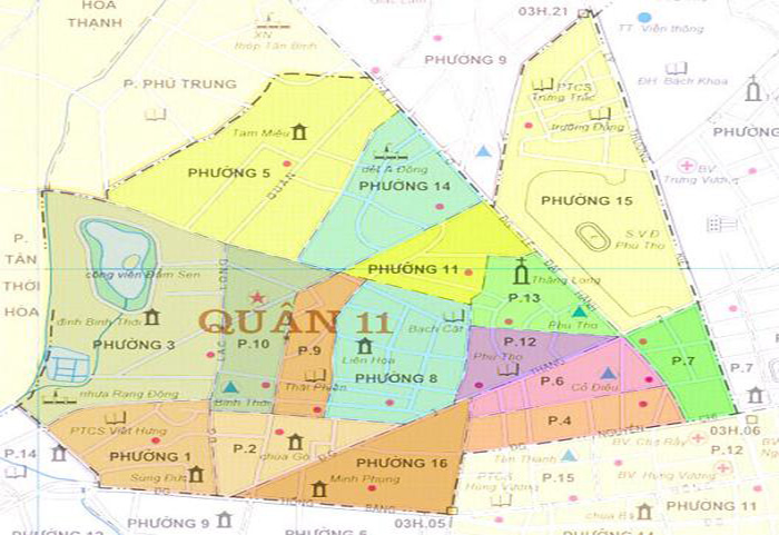 Bản đồ sửa máy giặt quận 11